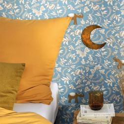 Papier peint Wisdom bleu indien beige doré -MYSTERY- Caselio MYY101596217