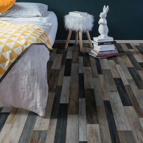 Sol vinyle patchwork bois gris métallisé - Plaza Cuban oak multico - largeur 4M - Beauflor 967M