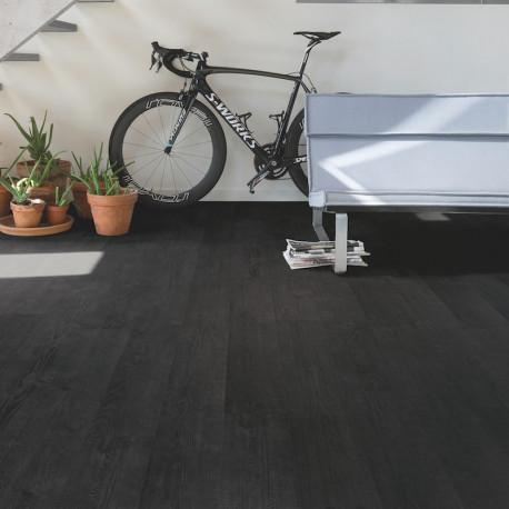 """QUICK STEP - Impressive - Lames stratifiées à clipser """"IM1862 Planches aspect bois brûlé monolames"""" (résistant)"""