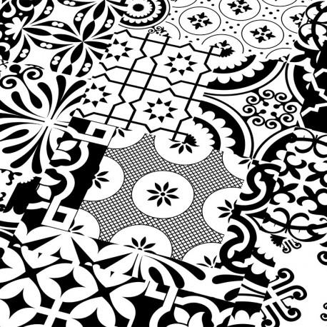"""FALQUON Quadraic """" Q002 Black & White """" Carreaux de ciment - lames stratifiées à clipser"""