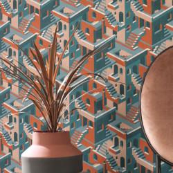 Papier peint Illusion Bleu Rose Orange -UTOPIA- Casadeco UTOP85113515