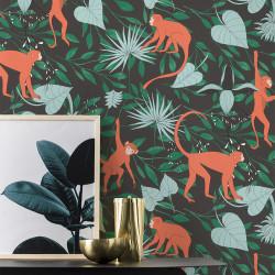 Papier peint Singe Orange Vert -CLUB BOTANIQUE- Rasch 540147