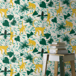 Papier peint Singe Jaune Vert -CLUB BOTANIQUE- Rasch 540130