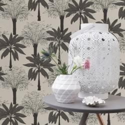 Papier peint Scandipalm Gris Sombre Blanc -CLUB BOTANIQUE- Rasch 537802