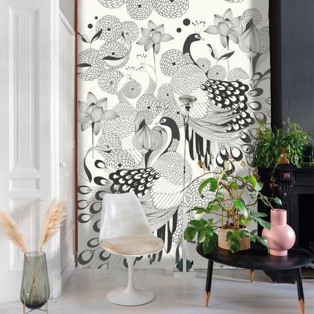 Panoramique Paon Noir Blanc -CLUB BOTANIQUE- Rasch 539165