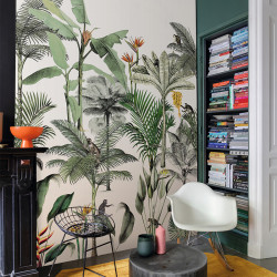 Panoramique Monkey Jungle Vert Fond Blanc -CLUB BOTANIQUE- Rasch 539172