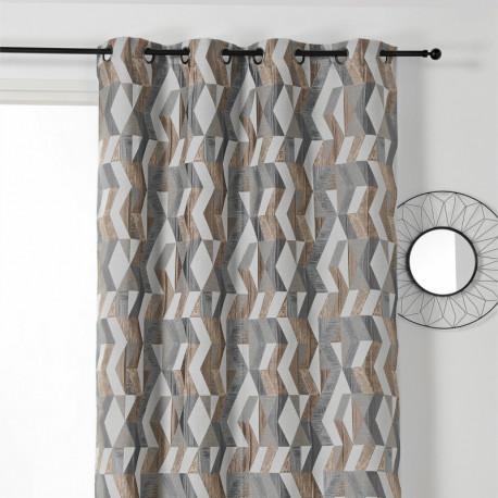 Rideau à œillets à motif géométrique beige et gris - Chloé - Linder