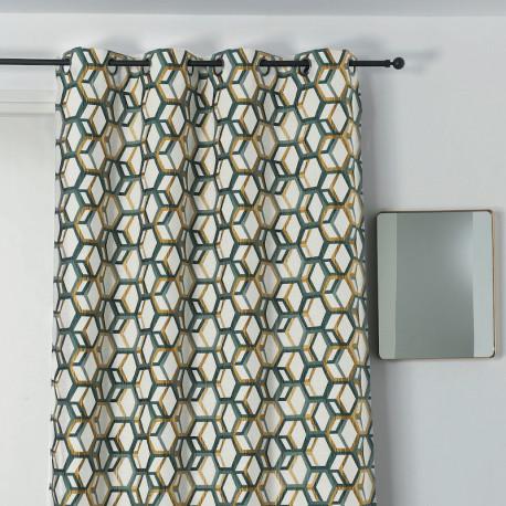 Rideau à œillets - motif géométrique vert et doré - ALANIS - Linder