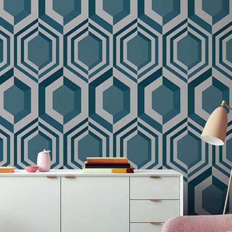 Papier peint Hexagonal 3D argent et bleu - GALACTIK - Ugepa - J40711