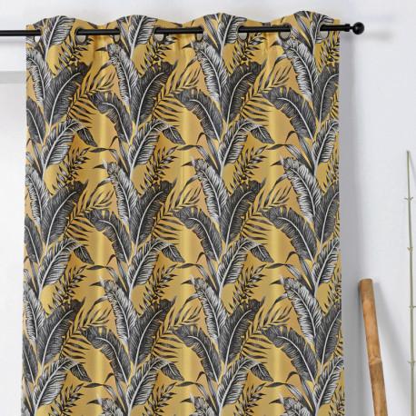 Rideau à œillets - motif exotique jaune et gris - SUMATRA - Linder