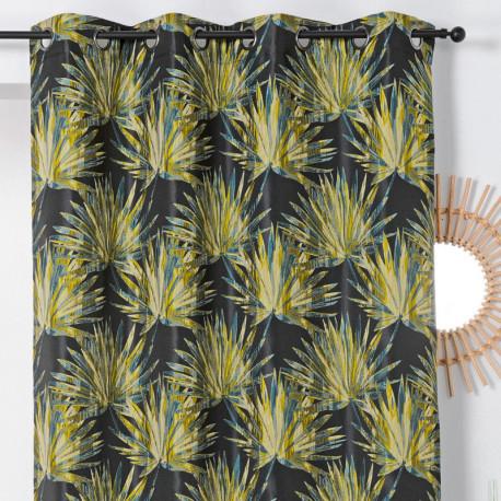 Rideau à œillets - motif palmes jaune et noir - BALI - Linder