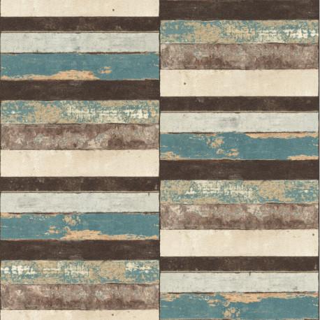 Papier peint 403701 PLANCHETTES bois vintage turquoise - Rasch