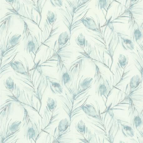 Papier peint vinyl sur intissé PLUMES DE PAON bleu - Lutèce
