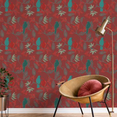 Papier peint à motif MARAKAI rouge JF3402 - JUNGLE FEVER - Grandeco