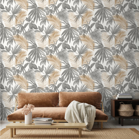 Papier peint JUNGLE FEVER gris et doré - Collector GRANDECO Life