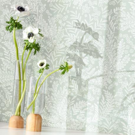 Papier peint à motif SEPTEMBER vert d'eau FLP101897077 - FLOWER POWER - CASELIO