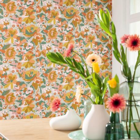 Papier peint à motif JULY vert d'eau ocre et corail FLP101877023 - FLOWER POWER - CASELIO
