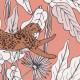 Papier peint à motif FANTASIE WORLD rose pêche blanc cuivre PTB101774001 - THE PLACE TO BED - CASELIO