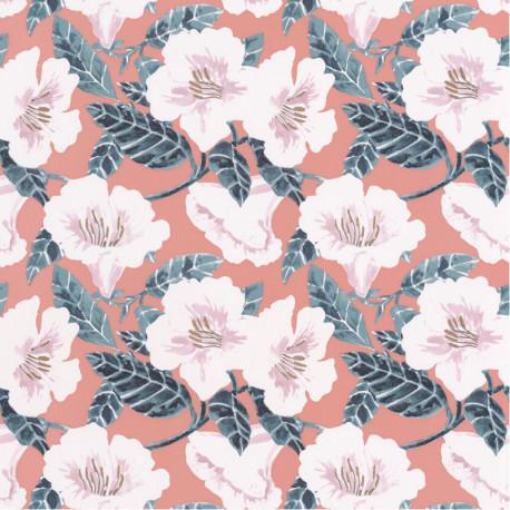 Papier peint à motif DING DING DONG rose pêche cuivré PTB101796006 - THE PLACE TO BED - CASELIO