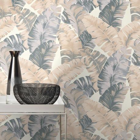 Papier peint motifs JUNGLE blanc gris 535617 - YUCATAN - RASCH