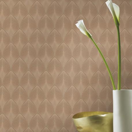 Papier peint à motif COME Art Deco marron 535822 - YUCATAN - RASCH