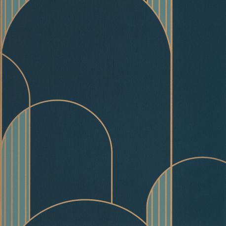 Papier peint High Walls bleu pétrole et doré - LABYRINTH - Caselio - LBY102116027