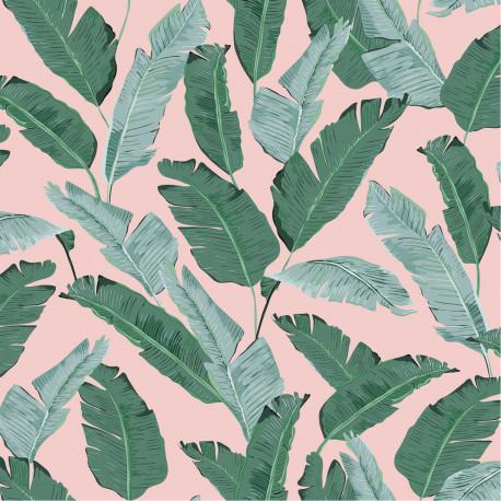 Papier peint Palmes vertes et fond rose poudre - Ugepa - L84504