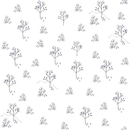 Papier peint Arbre Point argent et gris - BABY LAND - Lutèce 21104