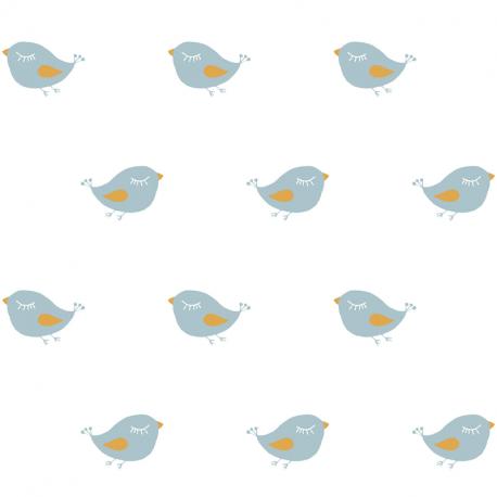 Papier peint Oiseau pailleté blanc - BABY LAND - Lutèce 21106