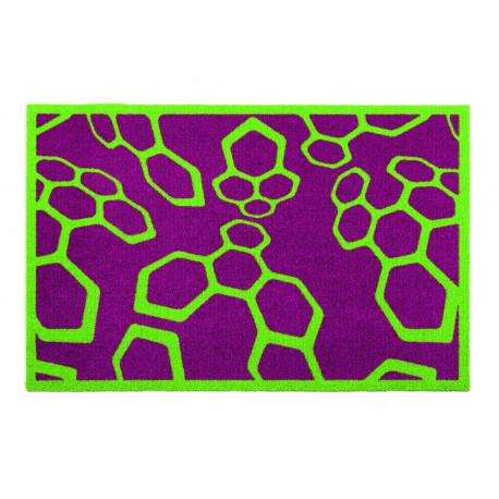 """Paillasson intérieur """"Dynacombs violet et vert"""" - Lars Contzen ASTRA 65x100"""