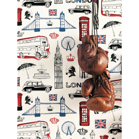 Papier peint London History rouge noir - ONLY BOYS - Caselio - OLB64778090