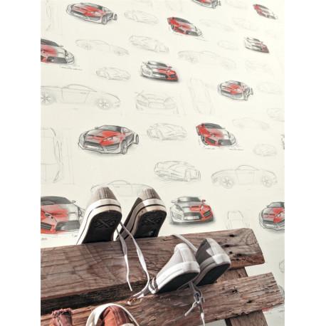 Papier peint à motif Voitures rouge - Only Boys - Caselio