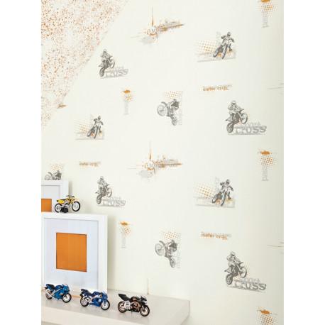Papier peint à motif Motocross - Only Boys - Caselio