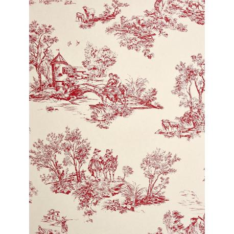 Papier peint Jouy rouge - CHANTILLY - Casadeco - CHT22918106