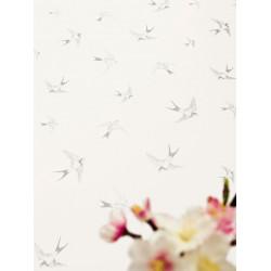 Papier peint à motif Hirondelles gris - Love - Caselio