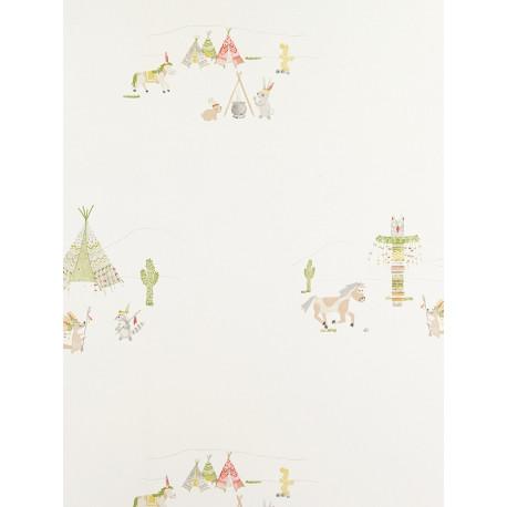 Papier Peint à motifs Indiens - vert - Arc-en-ciel - Casadeco