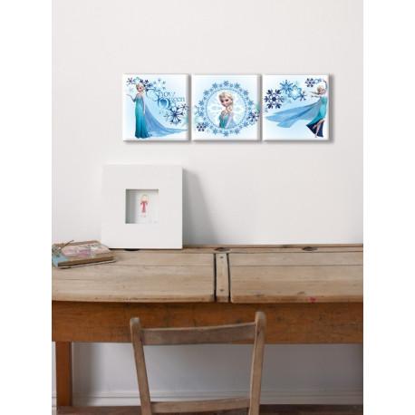 Set de 3 toiles imprimées Elsa : reine des Neiges - 20x20cm - Graham & Brown