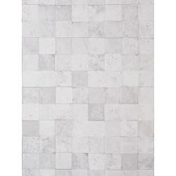 """Papier peint METAPHORE effet """" carreaux de pierre """" blanc cassé par Caselio"""