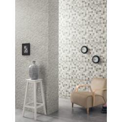 """Papier peint METAPHORE effet """" carreaux de pierre """" gris par Caselio"""