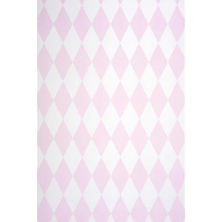 Papier peint ALICE et PAUL à motif losanges rose irisé - Casadeco