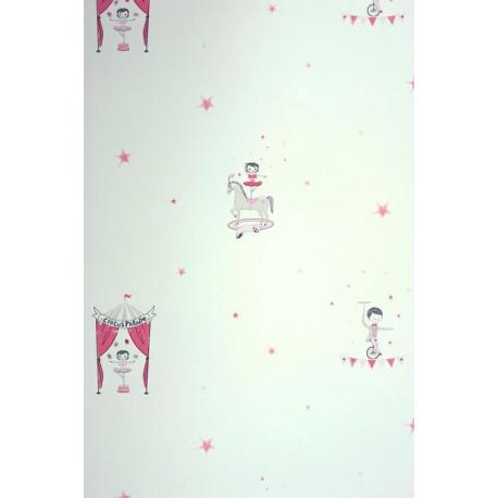 Papier peint ALICE et PAUL à motif cirque rose irisé - Casadeco