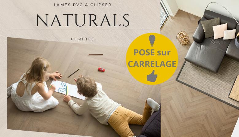 Revêtement de sol solide à clipser sur un ancien sol de la marque Coretec - Collection Naturals